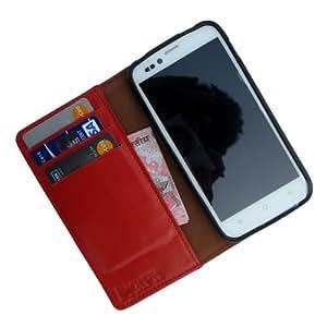 i-KitPit Genuine Leather Wallet Flip Case for Lenovo A680 (ORANGE)