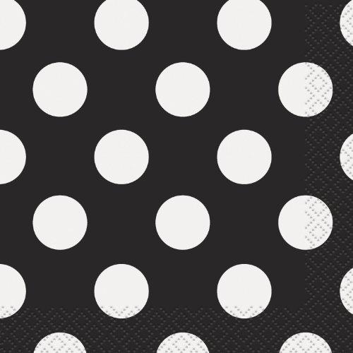 "Polka Dot Beverage Napkins, 5"" x 5"", Black, 16 Count"