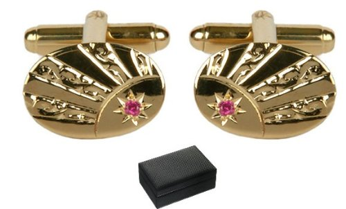 Mens-Ladies Oval Sunray Engraved Ruby Crystal Gold Plated Cufflinks