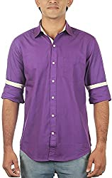 Lapilvi Men's Slim Fit Casual Shirt (lpb0009_violet_medium, Violet, Medium)