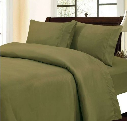 "400 Thread Count 100% Egyptian Cotton Solid Moss Full 19"" Deep Pocket Sheet Set front-1045896"