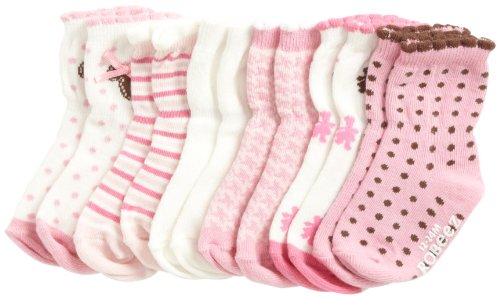 Robeez Baby-Girls Newborn 6 Pack Teddy Bear Socks, Pink/Multi, 6-12 Months