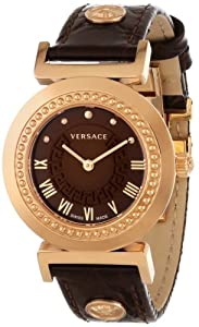 "Versace Women's P5Q80D598 S497 ""Vanity"" Rose Gold Ion-Plated Watch with Brown Leather Band"