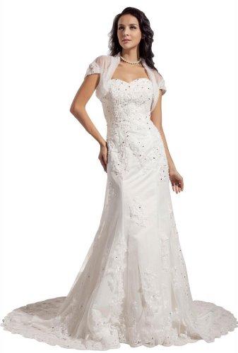 Deals george bride designer mermaid lace court train for Amazon designer wedding dresses