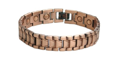 MJM Mens Copper Alloy Magnetic Bracelet With 3000G Magnets In Every Link With Free Link Remover - 8.5