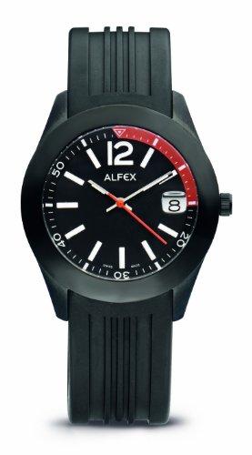 Alfex - 5648_696 - Montre Homme - Quartz Analogique - Cadran Noir - Bracelet Caoutchouc Noir