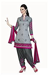 Lookslady Satin Beige Women Unstitched Salwar Kameez Suit Dress Material