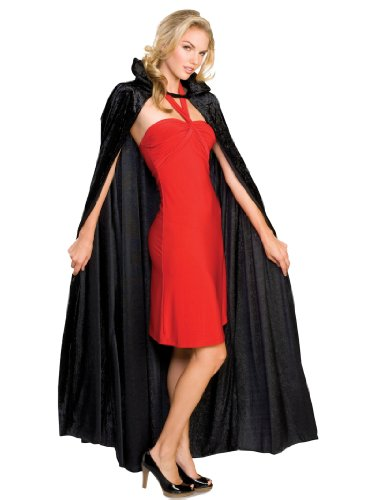 Long Black Cape Crushed Velvet with Collar Womens Theatrical Costume