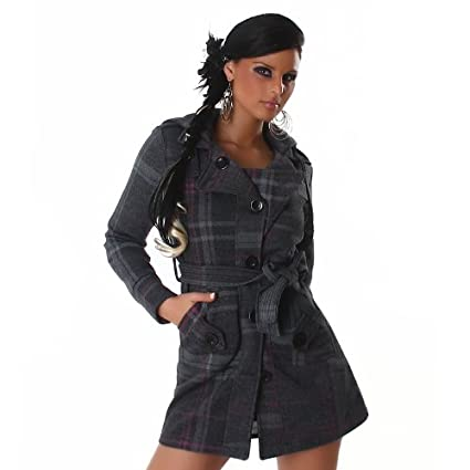 celebrity style ceinture Gris hiver printemps mode Caribee college jacket Manteau trench bouton de cocktail club-fine en métal-uk