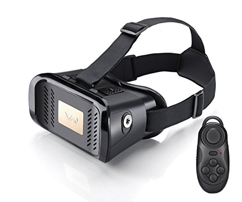 AmanStino 3D VR Virtual Reality Headset Video Movie Game Glasses for 4.7~6 Inch Smartphones, Adjustable Focal Pupil Distance, with Remote Controller ¡­