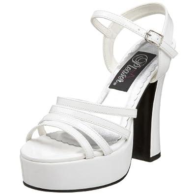 Pleaser Women's Dolly-25 Platform Sandal,White Patent,6 M US