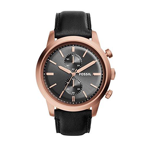 Fossil FS5097 - Reloj de cuarzo con correa de cuero para hombre, color gris / negro