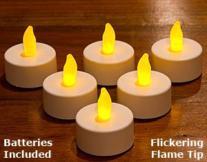 20 (Twenty) Battery Operated, Flickering Amber Led Tealights. Will 'Burn' Up To 100 Hours With The Long-Lasting Lithium Battery Provided
