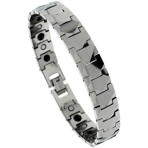 Sabrina Silver Tungsten Gun Metal Magnetic Bracelet w/ Freeform Facets, 15/32 in. (12mm) wide (BTN131)