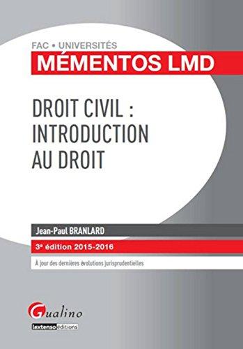 Droit civil : introduction au droit 2015-2016