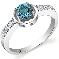 Sleek and Classy 0.50 carats London Blue Topaz Ring in Sterling Silver Size 5 to 9 Free Shipping