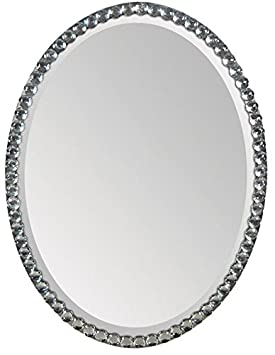 Ren-Wil Oval Crystal Framed Wall Mirror - 24W x 32H in.