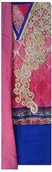 Suman Fasion Sarees Women's Chanderi Dress Material (Su000017_Chiffon Pink Blue, Chiffon Pink Blue)