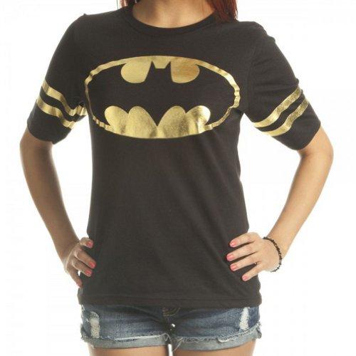 Batman All Foil Juniors Black Athletic T-Shirt
