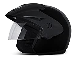Vega Cruiser Open Face Helmet with Peak (Black, M)