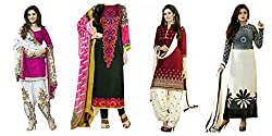 Sky Global Women's Printed Unstitched Regular Wear Salwar Suit Dress Material (Combo pack of 4)(SKY_Combo_353)(SKY_521_Pink)(SKY_501_Maroon)(SKY_523_White)(SKY_222_Multicolor)