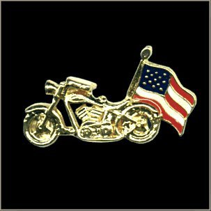 MC USA Flag Biker Pin