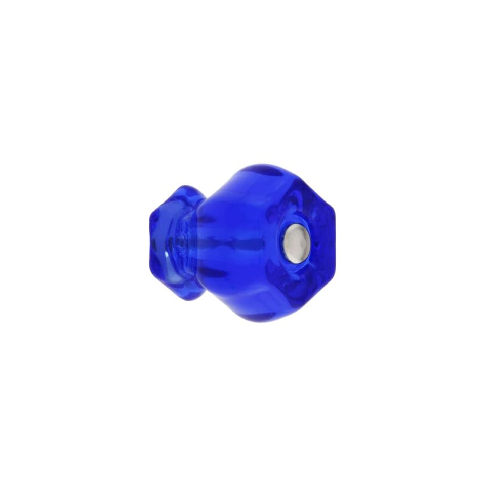 Medium Hexagonal Cobalt Blue Glass Cabinet Knob With Nickel Bolt. Vintage Knobs.
