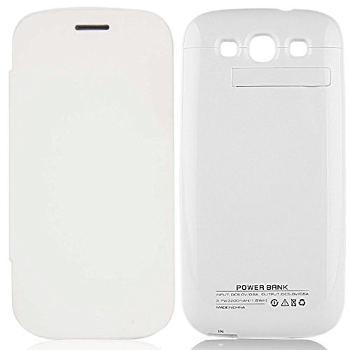 3200Mah Battery Backup Charger Case Stand For Samsung Galaxy S3 Siii I9300 (White)