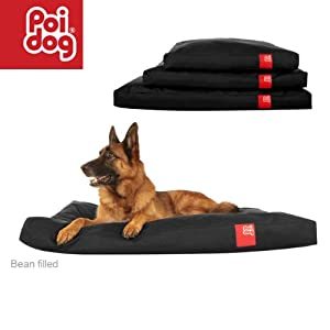 "Poi Dog® XL Extra Large (50"") Dog Bean Bag - BLACK Poly Canvas Bean Bags for Dogs - Large / XL Dogs by Poi Dog®"