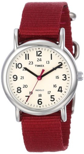 Timex Women's T2N914 Weekender Mid-Size Slip-Thru Berry Nylon Strap Watch