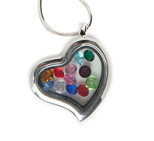 Mother's Day Heart-Shaped Floating Glass Charm Locket - Includes 12 Birthstone Gems and Tinseled Tokens Bag (Floating Charms Gems compare prices)
