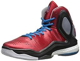 adidas Performance D Rose 5 Boost J Kids\' Basketball Shoe (Big Kid), Scarlet/Solar Blue, 3.5 M US Big Kid