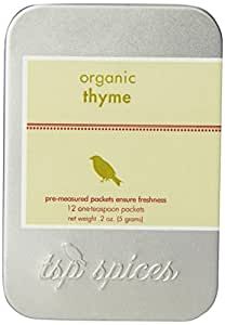 Tsp Spices Organic Thyme, 12 One-teaspoon Packets, 2-Ounce Tins (Pack of 3)