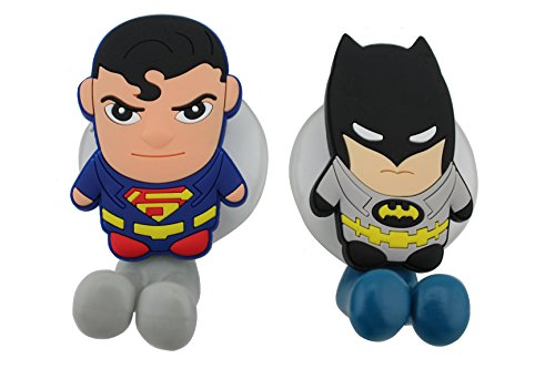Finex® *Set of 2* DC COMICS SUPERHEROES Batman vs & Superman Toothbrush Holders with Suction Cup for wall in bathroom at home (Batman Brush compare prices)