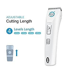 [Rechargeable] Cordless Pet Clipper, Amir® Low Noise Electric Pet Hair Trimmer, Pet Shaver, Pet Razor, Professional Pet Grooming Clipper Kit for Dog & Cat (4 Cutting Length)