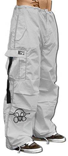 Ghast Unisex Cargo Drawstring Contrast Stitching Rave Dance Pants, White w/ Black Stitching X-Large