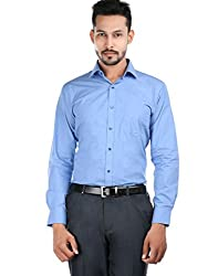 Oxemberg Men's Solid Formal 100% Cotton Light Blue Shirt