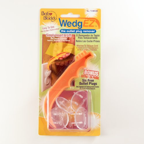 Baby Buddy Wedgez Outlet Plug Remover With 6 Bonus Plugs, Orange/Clear front-774788
