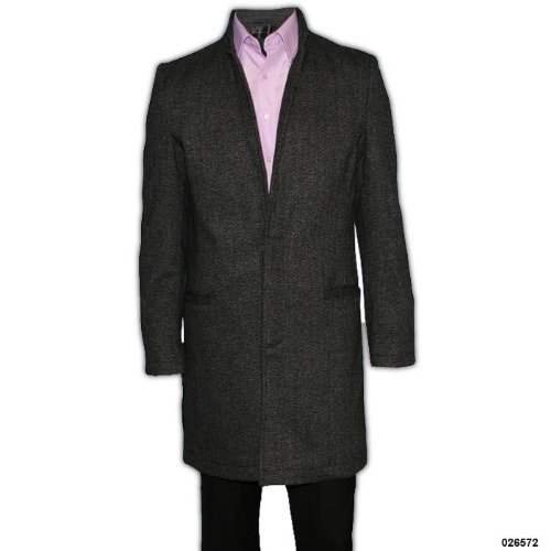Mens Milan Wool Blend Mid Length Overcoat Size Small