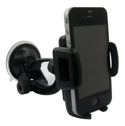 HD Zone's IBRA® High Quality Windshield Dashboard Universal Car Mount Holder for iPhone 4S/5/5S/5C, Galaxy S4/S3/S2, HTC One DROID RAZR HD - Black (Strong Suction)