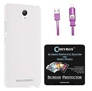Chevron Rubberized Matte Finish Back Cover Case for Xiaomi RedMi Note 2 Prime with HD Screen Guard & 2 In 1 Data Cable (Micro USB & Lighting) (White)