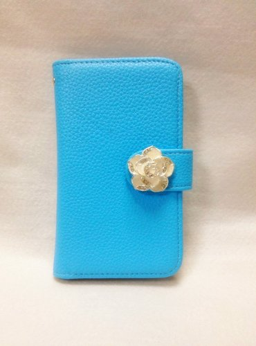 Luxury Crystal Rhinestone Camellia Leather Card Flip Card Holder Wallet Case Cover for Samsung Galaxy S Blaze 4G SGH-T769 T-Mobile blue