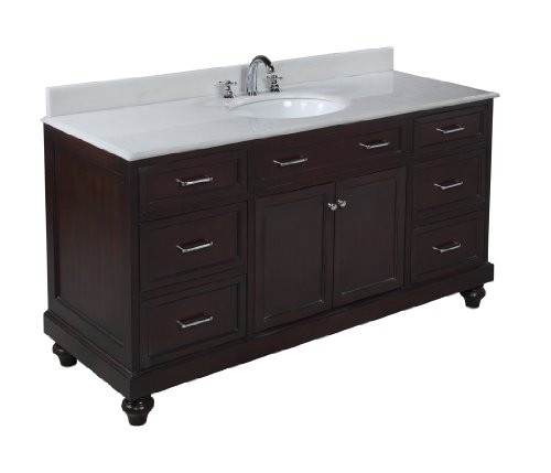amelia 60 inch single sink bathroom vanity white chocolate includes