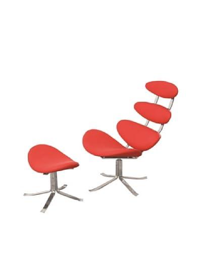 Manhattan Living Crono Chair & Ottoman Set, Red