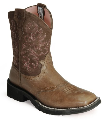 ariat womens ranchbaby square toe boots in brown rebel