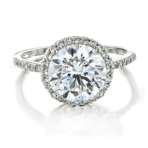 Bling Jewelry Vintage Style 925 Sterling Silver Round Brilliant CZ Diamond Engagement Ring