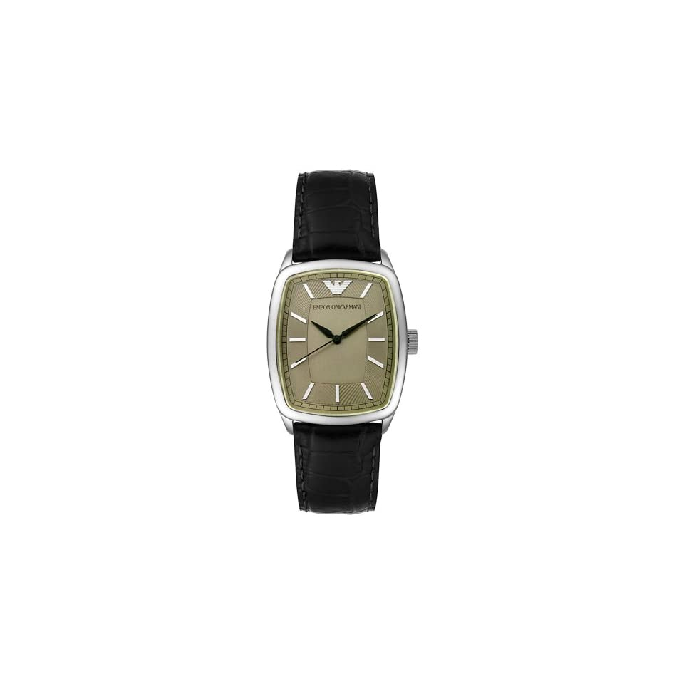 Emporio Armani Mens AR0410 Stainless Steel and Black Leather Watch