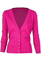 G2 Chic Women's Solid Button Up Long Sleeve Cardigan