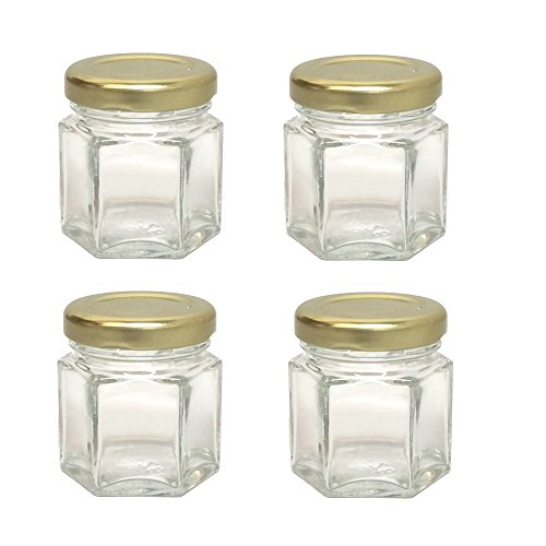 GYBest 4-Pack Mini 1.5 Oz Hexagon Glass Jars with Gold Plastisol Lined Lids, Great for Jam, Honey, Wedding Favors, Shower Favors, Baby Foods, DIY Magnetic Spice Jars