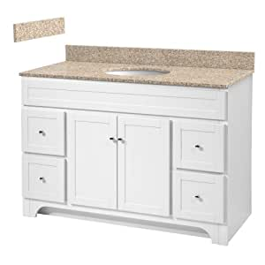48 inch white bathroom vanity with wheat beige granite top and white